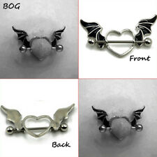 PAIR Bat Wing Nipple Shield Ring With Titanium Barbell Piercing Body Jewelry 14g