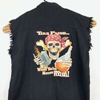 New Skull Bones Mens Sleeveless Shirt 2XL XXL Black Denim Motorcycle Rum Pirate