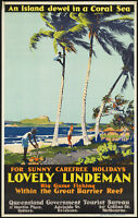 LINDEMAN ISLAND TRAVEL VINTAGE REPRO NEW A3 CANVAS ART PRINT POSTER FRAMED