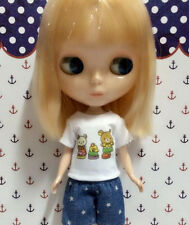 Blythe Doll Outfit Clothing White Tee with cartoon Print
