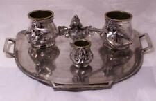 Antik Jugendstil Figurale Silber Platte Tisch Satz Russland / Polen Fraget C