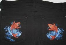 Ed Hardy Girls Vintage Tattoo Black Koi Skinny Knit Pants (L/12) NWT