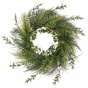 21 Inch Wreath Fern with Blossoms Outdoor Artificial Greenery UV Resistant