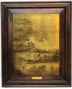 c.1875 FRAMED Brass Etching Plate - WINDMILL CASTLE FARMERS - Dutch Netherlands
