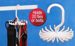 Adjustable Tie Belt Rotating Hanger Rack Space Saver Organiser 20 Ties/Belts UK