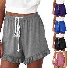 Womens Summer Elastic Waist Ruffle Shorts Casual Loose Hot Pants Pjs Loungewear