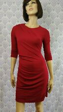 Banana Republic Ruched Bodycon Dress Womens Size S Wine Red Stretch 3/4 Sleeve