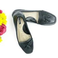 Thom McAn Women's Black Leather Tassels Flats Slipons Loafers. Size 9.5W