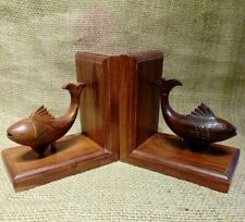 PAIR VINTAGE TEAK FISH BOOKENDS. MID CENTURY MODERN. HAND CARVED