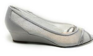 Nina Womens Slip On Wedge Shoes Silver Sparkle Size 7 M US