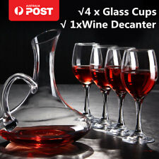 Meco 1700ML Crystal Glass Wine Decanter Carafe Elegant Pourer Container +4 Cups