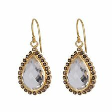 Crystal Quartz And Smoky Hook Dangle Earrings 925 Silver Gemstone Jewelry