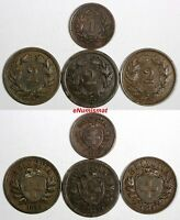 Switzerland LOT OF 4 COINS 1850-1919 2 Rappen,1 Rappen KM# 3.2; KM# 4.1; KM#4.1