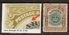 """LABUAN 1902-03 16c LINE THROUGH """"B"""" VARIETY SG125a"""
