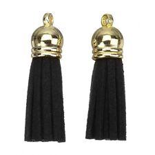 Encantos de Borla de gamuza con tapa de oro para la fabricación de joyas negro 36mm (H14/3)