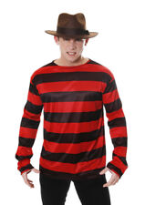 Halloween Freddy Kruger Black & Red Striped Shirt - Adult Size Fancy Dress Acces
