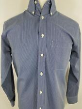 Roundtree & Yorke Easy Care Blue Striped Long Sleeve Dress Shirt Men's Small