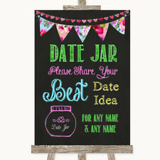 Wedding Sign Poster Print Bright Bunting Chalk Date Jar Guestbook