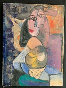 Pablo Picasso Original vintage Oil on canvas Painting. Hand Signed. No Print