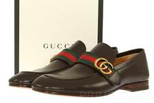 NEW GUCCI CURRENT BROWN LEATHER GG LOGO WEB LOAFERS DRESS CASUAL SHOES 7.5/US 8