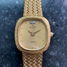 ELGIN Ladies 18k Gold-Plated Diamond Dress Watch, c.1980s Swiss Elegance LV252