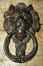 Large Cast Iron Antique Style Rustic LION HEAD Door Knocker Brown Finish