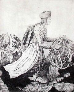 """Garden Angel"" original copper engraving by Henryk Fantazos signed & numbered"