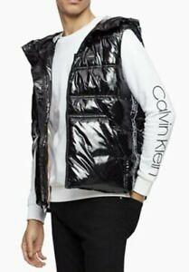 CALVIN KLEIN CK MENS HOODED PUFFER VEST SIZE XL Shiny Black Logo Jacket *NEW*