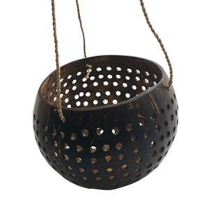 Vie Naturals Beautiful Carved Hanging Coconut Shell (13-15cm) with a Sturdy Jute