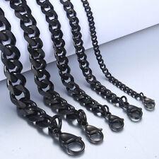 10pcs Wholesale Black Men Necklace Stainless Steel Cuban Miami Chain Never Rust