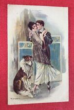 CPA. Illustrateur CROTTA. Couple Amoureux. Danse. Chien. Paravent. 1919