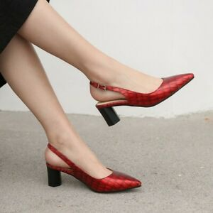 Women Pointed Toe Med Block Heels Sandals Slingback Snake Shoes Party Pump Size