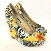Zigi Soho Rush Platform Wedge Heels 9 Peep Toe Floral Animal Print Yellow Vegan