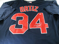 DAVID ORTIZ / AUTOGRAPHED BOSTON RED SOX BLUE PRO STYLE BASEBALL JERSEY / COA