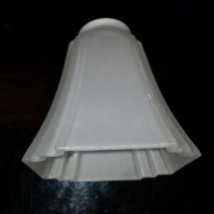 ART DECO Style Fluted Glass Lamp Shade Sconce Satin Frosted SQUARE Vintage White