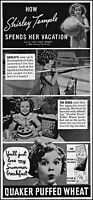 1937 Shirley Temple vacation Quaker Puffed Wheat vintage photo print ad ads56