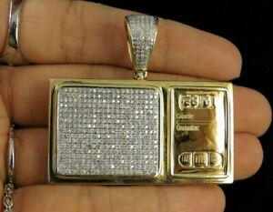 1.75Ct Round Cut Diamond Digital Weighing Scale Pendant in 14K Yellow Gold Over