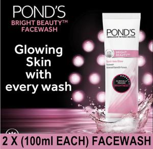 🇬🇧  **New 2 X (100ml Each) Ponds BRIGHT BEAUTY Skin Glow Brightening Facewash