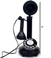 BLACK BRASS WORKING ITALIAN STYLE CANDLESTICK RETRO HANDMADE TELEPHONE