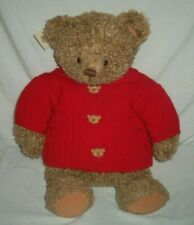 "17"" Hallmark Teddy Bear w/ Red Button Up Sweater Med Brown Mary Hamilton Plush"