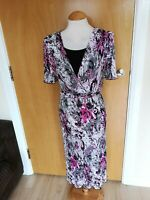 Ladies Dress Size 18 20 Black Pink Crinkle Stretch Party Evening Wedding Races
