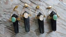 "Point set #31 Black Obsidian (pkg 4) hamilton gold mount w cab 1 1/2"" long"