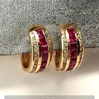 2.50 Ct Princess Cut Red Ruby & Diamond Hoop Earrings In 14k Yellow Gold Finish