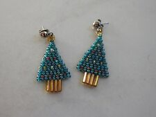 pierced Christmas Tree earrings beaded blue green tree gold color base trunk