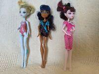 Lot Of 3 Monster High Dolls Draculaura Lagoona Blue 2008 Robecca Steam 2011 Set