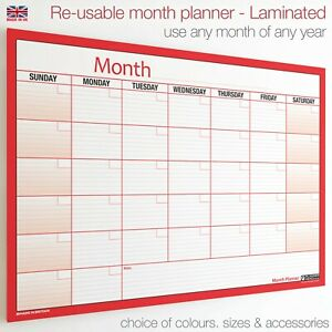 Month Planner LAMINATED Extra Large Wall Chart Weekly Monthly To Do Wipe Clean