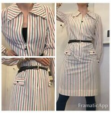 Vintage 1960s striped nautical shift shirt dress blue red white uk 10