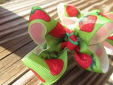 """Hair Bows a pair of Medium 2"""" Red, Green Strawberries grosgrain USA"""