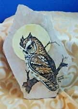 Owl Painted on Sandstone c.1978 Susan Hemm Southwestern Artist Organic Moon Bird