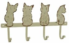 Rustic Cream Cat Metal Home Hanging Hooks ~ 4 Cats ~ Wall Mounted Hook  PFJ409